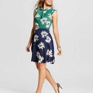 Color Block Floral Print Sleeveless Dress